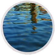 Light Reflections On The Water By A Dock At Aransas Pass Round Beach Towel