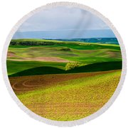 Light Shadow And Color Round Beach Towel