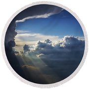 Light Shafts From Thunderstorm II Round Beach Towel