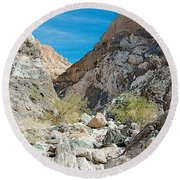 Light Side And Dark Side In Big Painted Canyon In Mecca Hills-ca Round Beach Towel