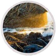 Light The Way - Arch Rock In Pfeiffer Beach In Big Sur. Round Beach Towel by Jamie Pham