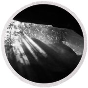 Light Through Mist In Cave Round Beach Towel