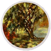 Light Through The Moss Tree Landscape Painting Round Beach Towel
