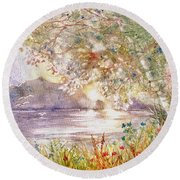 Light Through The Pass Round Beach Towel by Marilyn Smith