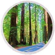 Light Through The Redwoods Round Beach Towel