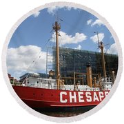 Light Vessel Chesapeake - Baltimore Harbor Round Beach Towel