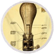 Lightbulb Patent Round Beach Towel