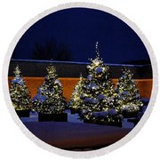 Lighted Trees With Snow Round Beach Towel