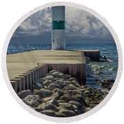 Lighthead At The End Of The Pier In Pentwater Michigan Round Beach Towel