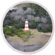 Lighthouse Aerial Near Jekyll Island Round Beach Towel