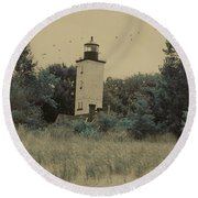 Erie Lighthouse Among The Trees Round Beach Towel