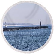 Lighthouse And A Sailing Boat Round Beach Towel