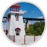 Lighthouse And Bridge Round Beach Towel