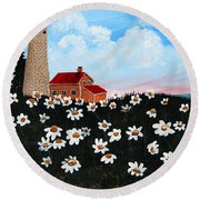 Lighthouse And Daisies Round Beach Towel