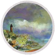 Lighthouse And Fisherman Round Beach Towel