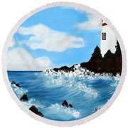 Lighthouse And Sunkers Round Beach Towel