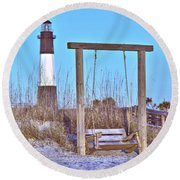 Lighthouse And Swing Round Beach Towel