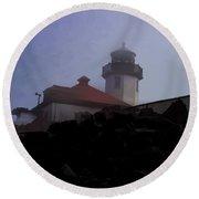 Lighthouse At Alki Beach 2 Round Beach Towel