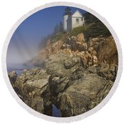 Lighthouse At Bass Harbor Maine Round Beach Towel