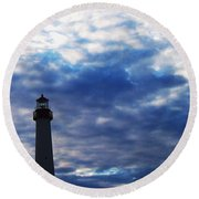 Lighthouse At Cape May Nj Round Beach Towel