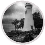Lighthouse At Marblehead Round Beach Towel