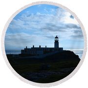 Lighthouse At Neist Point Round Beach Towel