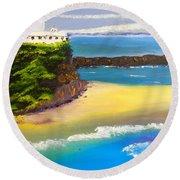 Lighthouse At Nobbys Beach Newcastle Australia Round Beach Towel