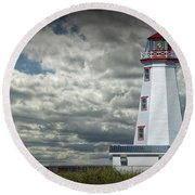 Lighthouse At North Cape On Prince Edward Island Round Beach Towel