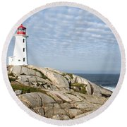 Lighthouse At Peggys Point Nova Scotia Round Beach Towel