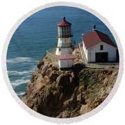 Lighthouse At Point Reyes Round Beach Towel
