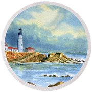 Lighthouse At Portland Head Maine Round Beach Towel