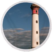 Lighthouse At Ouistreham Round Beach Towel