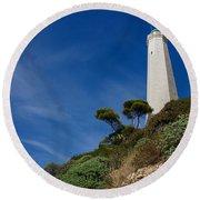 Lighthouse At Saint-jean-cap-ferrat France French Riviera Round Beach Towel