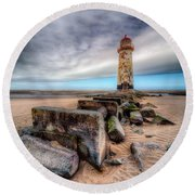 Lighthouse At Talacre  Round Beach Towel by Adrian Evans
