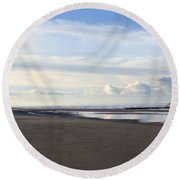 Lighthouse At Talacre Round Beach Towel