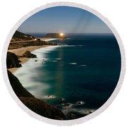 Lighthouse At The Coast, Moonlight Round Beach Towel