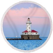 Lighthouse At The Navy Pier Round Beach Towel