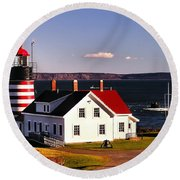 Lighthouse At West Quoddy Head Round Beach Towel
