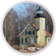 Lighthouse At White River Round Beach Towel