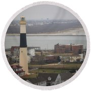 Lighthouse - Atlantic City Round Beach Towel