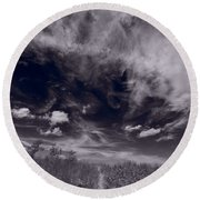 Lighthouse Beach Dunes Bw Round Beach Towel by Steve Gadomski