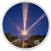 Lighthouse Beams By The Southern Cross Round Beach Towel