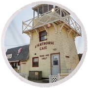 Lighthouse Cafe In North Rustico Round Beach Towel