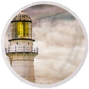 Lighthouse Cape Elizabeth Maine Round Beach Towel