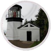 Lighthouse Cape Meares Round Beach Towel