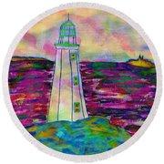 Lighthouse Digital Color Round Beach Towel