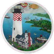 Lighthouse Fishing Round Beach Towel