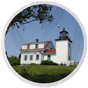 Lighthouse Fort Point Round Beach Towel