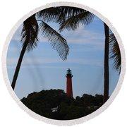 Lighthouse From Afar Round Beach Towel
