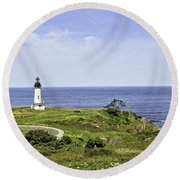 Lighthouse From Salal Hill Round Beach Towel